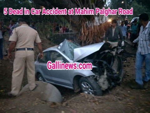 Car Dash Tree 5 Dead in Palghar Mahim Road