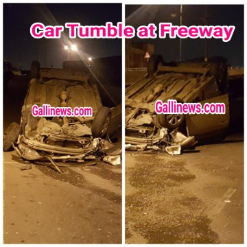 Car Tumble at Freeway Toyota Corolla car Palti hai Free way ke End par Towards CST