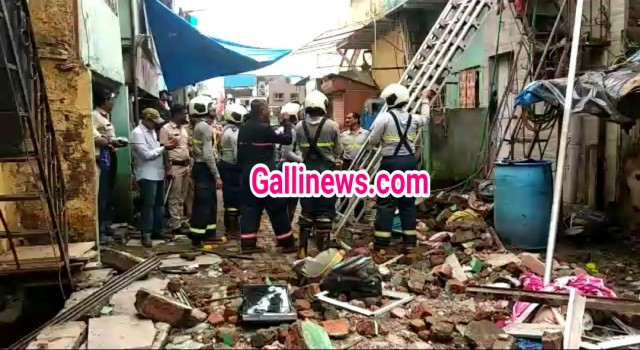 Wall collapse of Ground plus two Floor house at Malwani Malad No injury reported