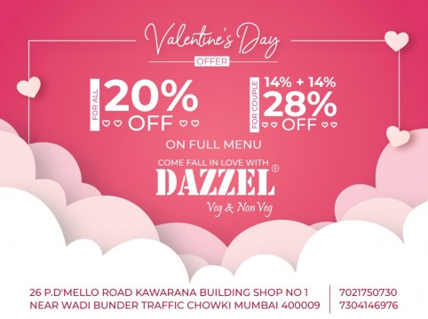 28 Percent Discount on Valentines Day For Couple by Dazzel Restaurant