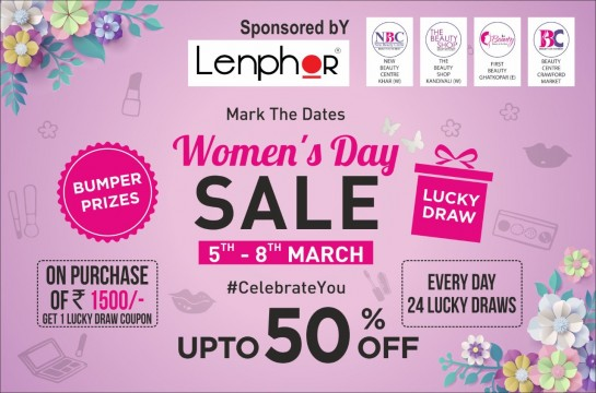 2 Days left Biggest Women Day UPTO 50 Percent Sale By Beauty Center  Crawford Market uptill 08 March Sunday Open