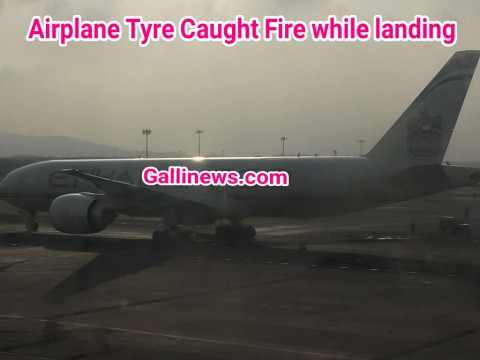 Airplane Tyre Caught Fire while landing