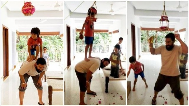 Aamir khan carries son Azad on his back to help him break dahi handi on Janmashtami