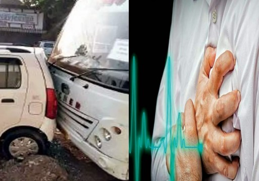 Bus takrai 3 vehicles se Bus Drive karte waqt aaya Heart Attack Driver ko at Charkop Kandivali west