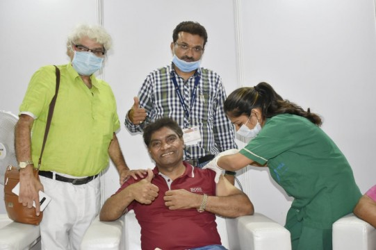 Actor Johnny Lever received COVID 19 vaccine at BKC Jumbo vaccination centre in Mumbai Maharashtra earlier today