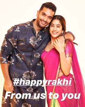 Angad Bedi sends out some love on Raksha Bandhan along with his on screen sister Janhvi Kapoor