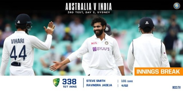 Australia Vs India 3rd Test Sydney Cricket Ground 1st Innings Score Board Australia 338 10