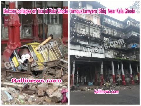 Balcony collapse on Taxi at Kala Ghoda  Famous Lawyers  Bldg  Near Kala Ghoda