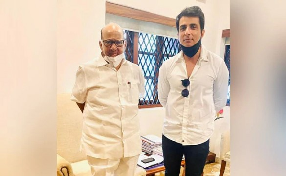 Bollywood Actor Sonu Sood meets NCP Chief Sharad Pawar In Mumbai