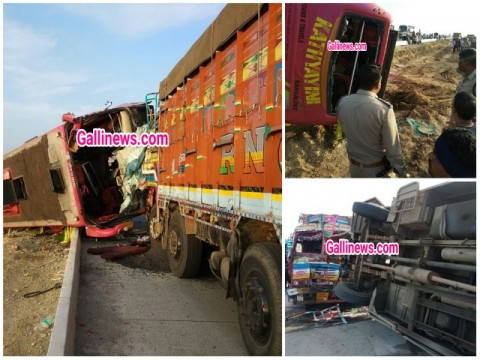Bus and Lorry Truck ki takkar main 6 logon ki death 10 se zyada log zakhmi near Hubli