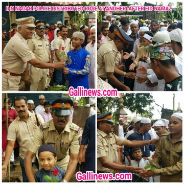 D N NAGAR POLICE DISTRIBUTED ROSE AT ANDHERI AFTER EID NAMAZ