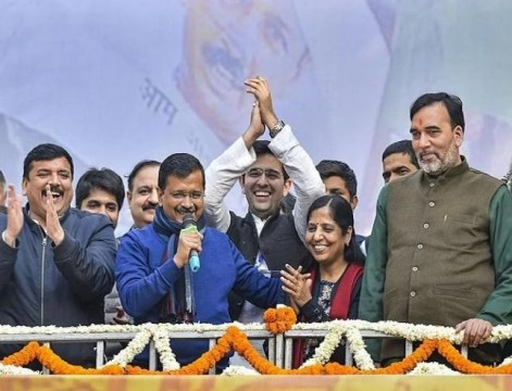 Double Celebration for Arvind Kejriwal  Party Won in Delhi and Wife Birthday On Same Day
