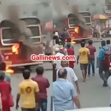 Fire in BEST Bus at Bhandup Short Circuit se lagi chalti bus main aag