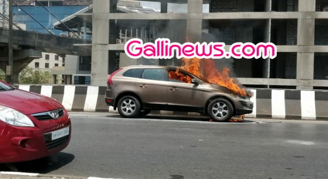 Fire in  Car Newly Brand Volvo at Andheri Flyover