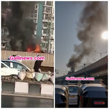 Fire in Car at Sion Chembur Link road near Amar Mahal Junction