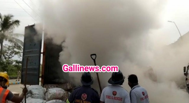 Fire in Container near Mumbra Bypass