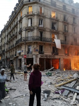 Bakery Explosion and Fire in Paris due to Gas Leakage