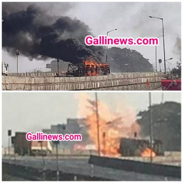 Fire in Truck carrying Gas cylinders at Palghar 1 person ki death kuch log zakhmi