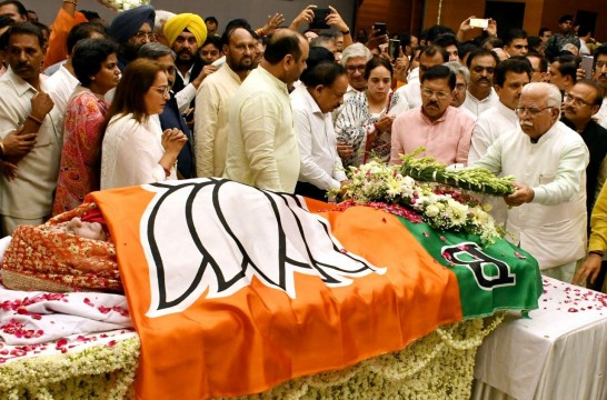 Former External Minister Sushma Swaraj given State Funeral