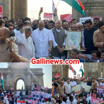 CAA NRC ke khilaf Congress ki 3000 km Gandhi Shanti Yatra NCP and VBA leaders ka support at Gateway of India