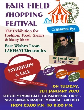 Fair Field Shopping Festival Exhibiton and Sale Mumbai At Cutchi Memon Hall On 21 st Jan 2020