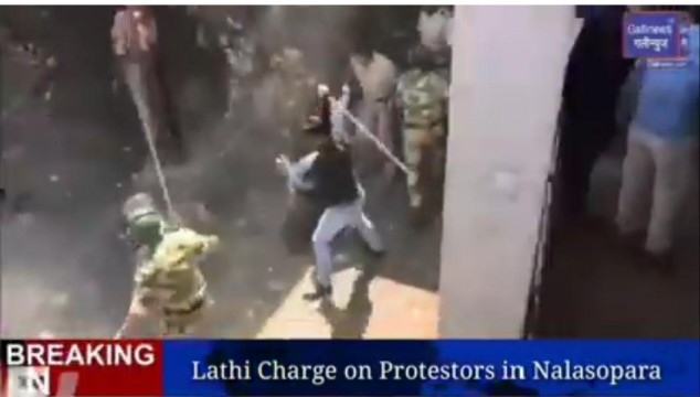 Lathi Charge on Protestors in Nalasopara