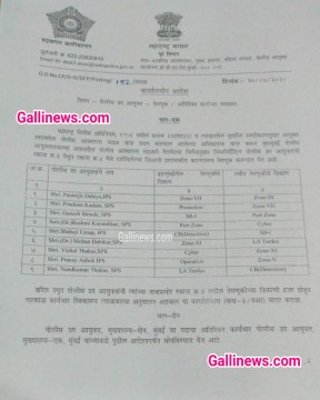 Mumbai Police Today DCP Transfer List