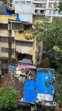 Part of a building collapses at Prabhadevi