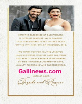 Deepika Padukone Vs Ranveer Singh wedding date declare 14th and 15th November 2018