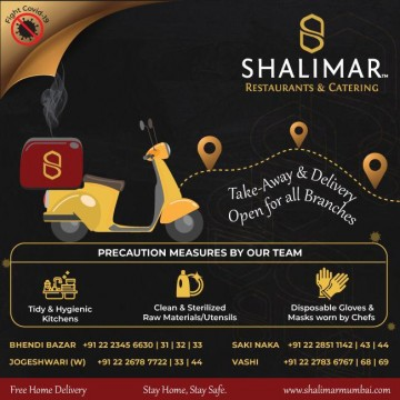 Shalimar Hotel starts Take away and home delivery from all branches