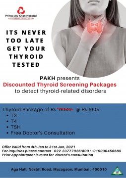 Thyroid test at Rs 650 by Prince Aly Khan Hospital Mazgaon