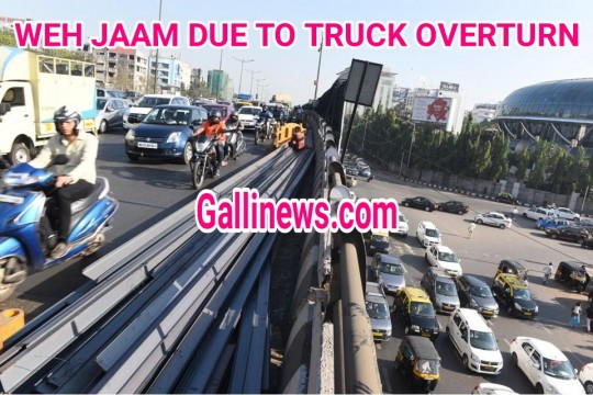 Traffic Diversion after Truck Overturn on Western Express Highway
