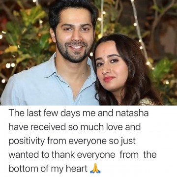 Varun Dhawan sends out a Message to all his well-wishers after his marriage with Natasha Dalal