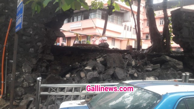Wall collapse of Holy cross covnent school at Thane