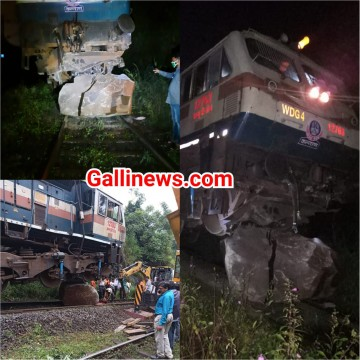 Goods Train ka Engine Derailed hua Huge stone se takra kar at Jasai Uran