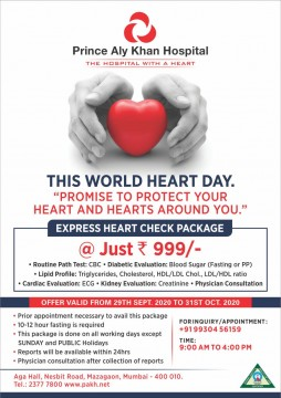 Rs 999 Heart Checkup by  Prince Aly Khan Hospital  Last Few Days Till 31st October