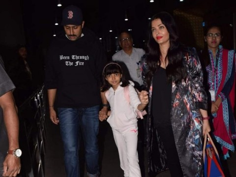 Aishwarya Abhishek and Aaradhya arrive in Mumbai after holidaying in Rome