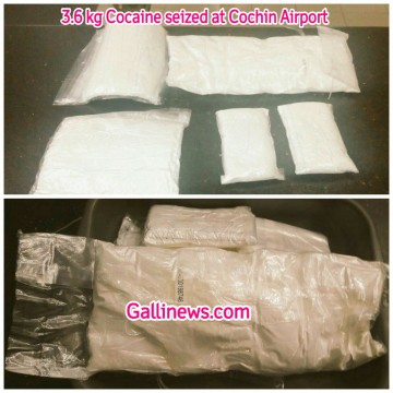 3 kg and 6 grm Cocaine seized at Cochin Airport