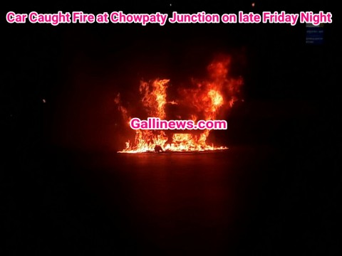 Car Caught Fire at Chowpaty Junction on late Friday Night