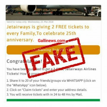 Viral Fake msg Jet Airways is giving 2 Free Tickets to celebrate its 25th Anniversary