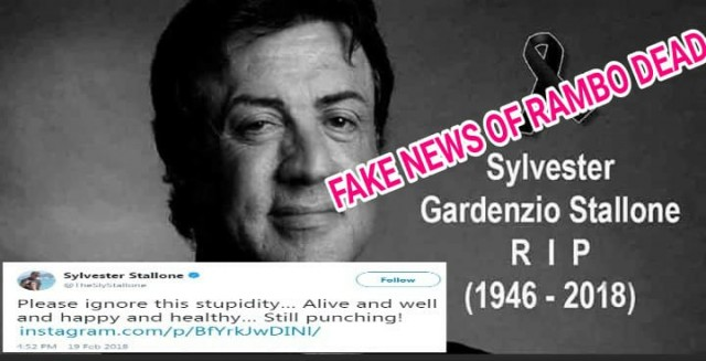 FakeNews of Sylverster Stallone Rambo Dead in Circulation