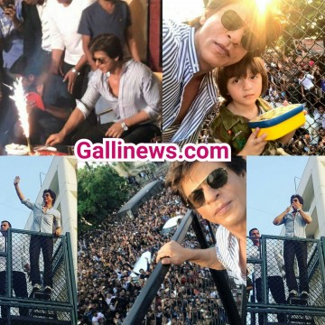 Shahrukh Khan with Abram Khan waves at his fans on his birthday