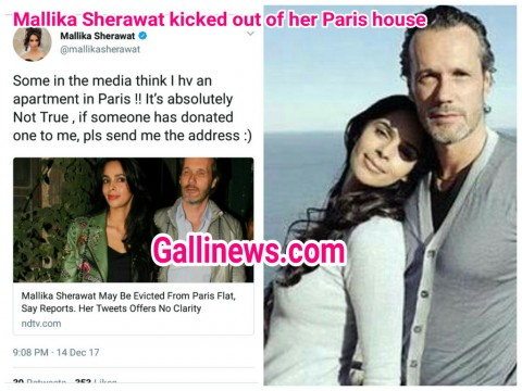 Bollywood actress Mallika Sherawat kicked out of her Paris home reports