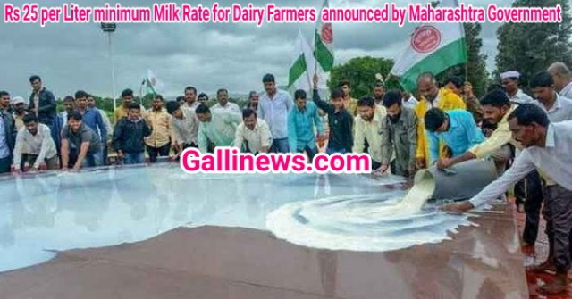 Rs 25 per Liter minimum Milk Rate for Dairy Farmers  announced by Maharashtra Government