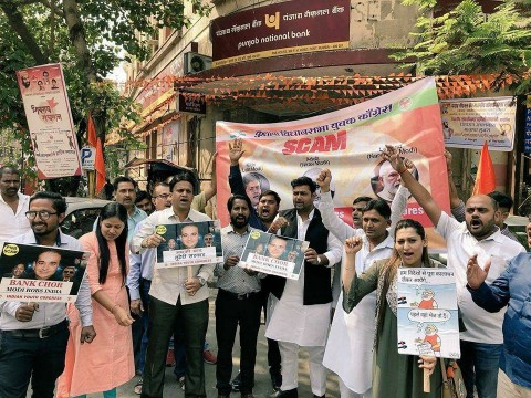 Youth Congress President Ganesh Yadav Protest against nirav Modi