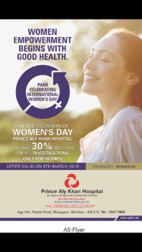 Prince Aly Khan Hospital offer 30 Percent Discount on Any Check Up on  Women's Day