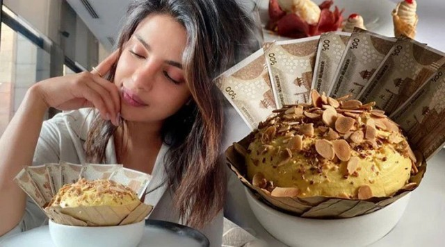 Priyanka Chopra gets dessert stuffed with Rs 500 notes, Rajkummar Rao captures the moment
