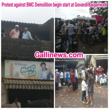 Protest against BMC Demolition begin start at Govandi Baiganwadi