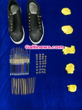 Gold Smuggling in Shoes and Ball points pens total 1 point 6 kg gold seized by custom department at Chennai Airport