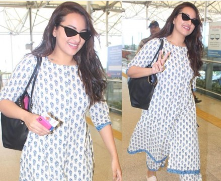 Sonakshi keeps it classy in her desi look as she gets clicked at Hyderabad airport